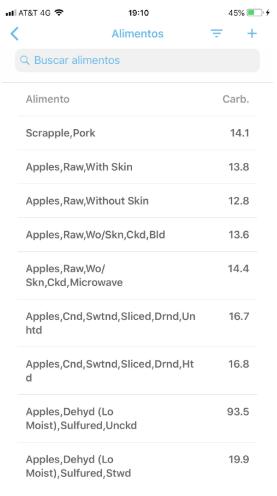 Base de datos de alimentos de la app para diabetes  SocialDiabetes.